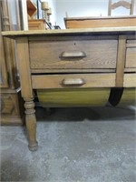 MIXED WOOD BAKERS TABLE W/4 DRAWERS