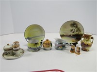 TRAY: NORITAKE & OTHER HAND PAINTED CHINA