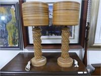 PAIR: HAND CRAFTED WOODEN TABLE LAMPS