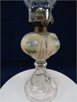 """16.5"""" TALL PAINTED PEDESTAL OIL LAMP"""