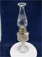 PRESSED GLASS PEDESTAL OIL LAMP