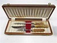 SHEFFIELD STAG HANDLED CARVING SET IN CASE