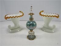 """2 GLASS VASES & 7.5"""" PERFUME"""