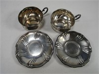 BIRKS STERLING RING CASE, 2  .835 CUPS & SAUCERS