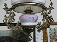 ANTIQUE OIL HANGING BRACKET LAMP