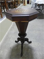 ANTIQUE PEDESTAL SEWING TABLE W/INLAID TOP
