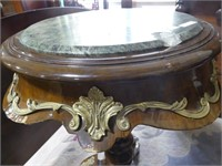 ORNATE GREEN MARBLE TOP PEDESTAL TABLE
