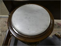 ORNATE WHITE MARBLE TOP PEDESTAL TABLE