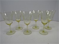 "TRAY: 6-6.75"" YELLOW GLASS STEMWARE"