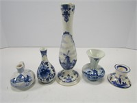 TRAY: DELFT & OTHER VASES ETC.