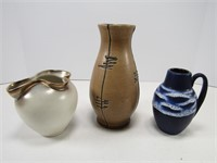 TRAY: 2 W.GERMANY & OTHER ART POTTERY VASES