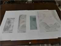 4 INDISTINCTLY SIGNED, 70'S STONE CUT PRINTS