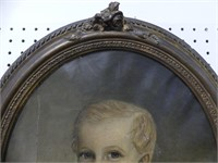 EARLY OVAL CHILD PORTRAIT O/C