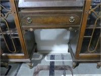 ANTIQUE DROP FRONT DESK W/SIDE BOOKCASES