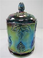 "GRAPE PATTERN CARNIVAL GLASS 6"" COVERED JAR"