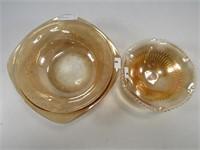 2 PEACH GLASS BOWLS