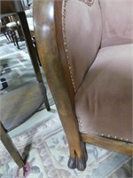 ANTIQUE CARVED WOODEN FRAMED ARM CHAIR