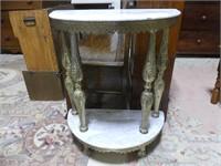 ANTIQUE LOOK 2 TIER D-SHAPE TABLE