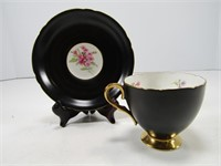 SHELLEY BLACK & FLORAL CUP AND SAUCER