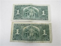 TRAY: 2 1937 BANK OF CANADA $1 NOTES