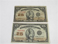 TRAY: 2 1923 DOMINION OF CANADA 25 CENT NOTES