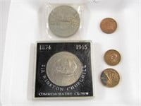 TRAY: CHURCHILL CROWNS 3 CANADIAN CENTS