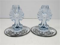 3 PCS. BLUE GLASS W/ SILVER OVERLAY
