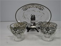4 PCS. CLEAR GLASS W/ SILVER OVERLAY