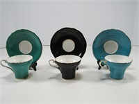 3 AYNSLEY CORSET CUPS AND SAUCERS