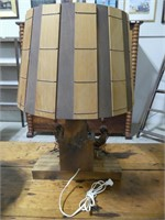 ANT. R CARVED WOODEN TABLE LAMP