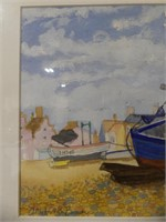 INDISTINCTLY SIGNED ALDEBURGH BEACH WATERCOLOUR