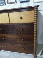 ANTIQUE 5 DRAWER CHEST W/BIRDS EYE DRAWERS