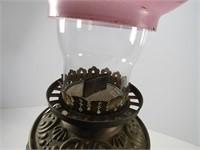 B & H 504-4 OIL BANQUET LAMP W/ FLORAL SHADE