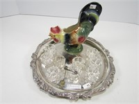 TRAY: ROYAL COPLEY ROOSTER & OPEN SALTS