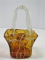 "11.25"" RUFFLED GLASS BOWL & PURSE"