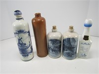BOX: DELFT & OTHER POTTERY BOTTLES