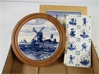 2 TRAYS:  ASS'T DELFT & OTHER WALL PLAQUES ETC.