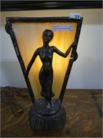 ART DECO CAST FIGURAL TABLE LAMP