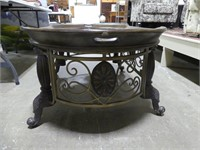 WROUGHT IRON & PLASTER OVAL COFFEE TABLE