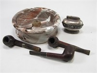 ITALY PIPE TRAY W/PIPES & RONSON LIGHTER