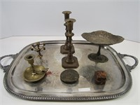 LARGE SILVERPLATE PLATTER & CONTENTS