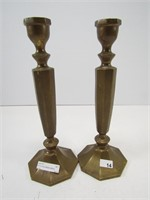 "PAIR 10"" SOLID BRASS CANDLE STANDS"