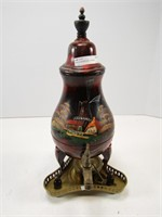 "HAND PAINTED DUTCH THEME CARAFE- 14"" ON STAND"