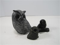 TRAY: WOLF ORIGINAL & OTHER OWL FIGURES
