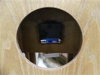 OAK CASE SMALL CURIO CABINET W/CLOCK