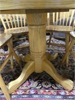 "OAK 36"" PEDESTAL DINING TABLE W/4 CHAIRS & LEAF"