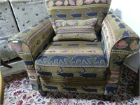 WILDLIFE THEMED UPHOLSTERED ARM CHAIR