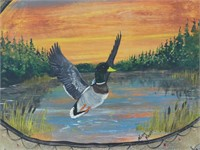 NORM KNOTT PAINTED DUCK ON SKIN WALL HANGING