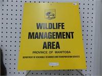 WILDLIFE MANAGEMENT AREA TIN SIGN