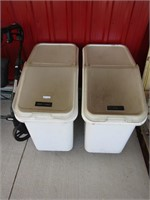 2 RUBBERMAID BULK STORAGE CONTAINERS ON WHEELS